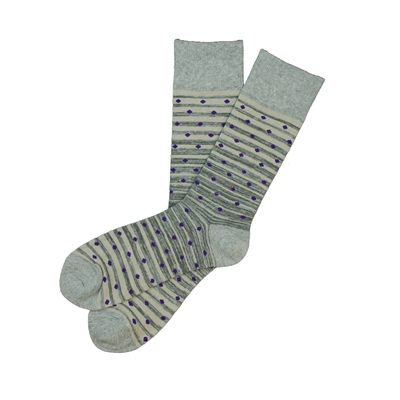 The School of Sock - The Jack, Gray, Charcoal and Purple Polka Dot Sock