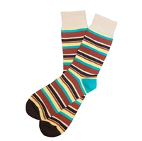 The School of Sock - The Jimmy Brown, Tan, Yellow and Teal Striped Sock