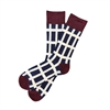 The School of Sock - The Johnny Navy, Maroon and White Stripe Sock
