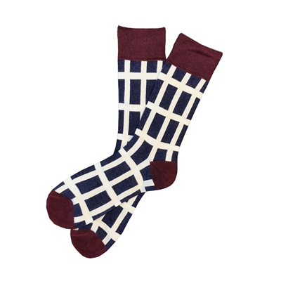 The School of Sock - The Johnny Navy, Maroon and White Big and Tall Stripe Sock