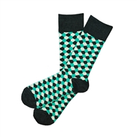 The School of Sock - The Kyle Charcoal, Teal and Cream Honeycomb Sock