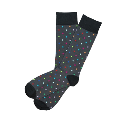 The School of Sock - The Landon Gray, Black and Muli Color Over The Calf Polka Dot Sock
