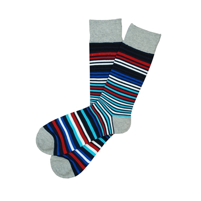 The School of Sock - The Mac Navy, Black, Teal, Red, Blue, White and Gray Stripe Sock