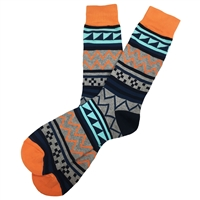 The School of Sock - The Michael Navy, Orange and Black Tribal Sock