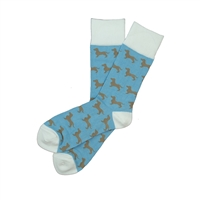 Sock 101 - The Millie Blue, Brown and White Wiener Dog Sock