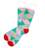 The School of Sock - The Mixer Teal, Blue, White and Red Dot, Stripe Argyle Big and Tall Sock