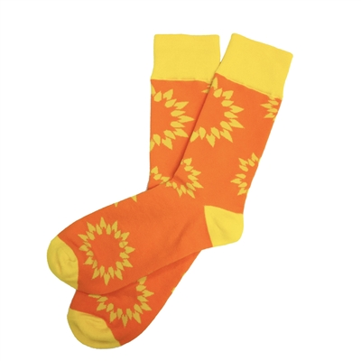 The School of Sock - The National Pediatric Cancer Foundation Orange and Yellow Sunflower Charity Sock