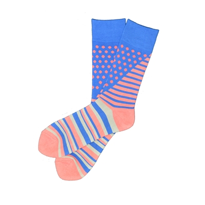 The School of Sock - The Oliver Blue and Salmon Striped Polka Dot Sock