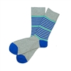 The School of Sock - The Parker Gray, Blue and Teal Striped Sock