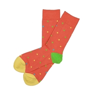 Sock 101 - The Patrick Light Red, Yellow, Lime Green and Aqua Blue Polka Dot Sock