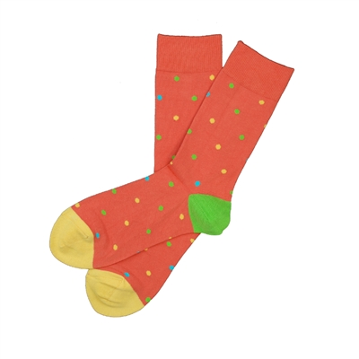 The School of Sock - The Patrick Light Red, Yellow, Lime Green and Aqua Blue Polka Dot Sock