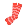 The School of Sock - The Phillip Red and Pink Over The Calf Chevron Sock