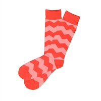 Sock 101 - The Phillip Red and Pink Over The Calf Chevron Sock