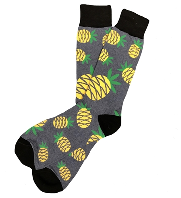 The School of Sock - The Pineapple Navy, Yellow and Green Big and Tall Sock