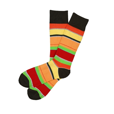 The School of Sock - The Ralph Red, Orange, Green and Brown Striped Sock