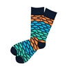 The School of Sock - The Richardson Navy, Orange, Teal and Blue Fish Patterned Sock (Design Contest Winner)