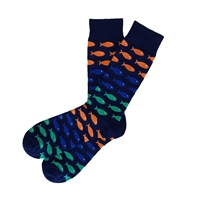 The School of Sock - The Richardson Navy, Orange, Teal and Blue Big and Tall Fish Pattern Sock (Design Contest Winner)