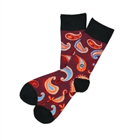 Sock 101 - The Riley Maroon, Orange and Blue Paisley Sock