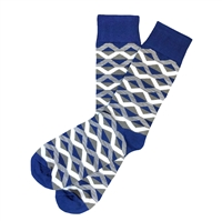 The School of Sock - The Ronnie Blue, White and Gray Diamond Stripe Sock