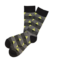 The School of Sock - The Ryan Charcoal, Gray and Yellow Triangle Big and Tall Sock