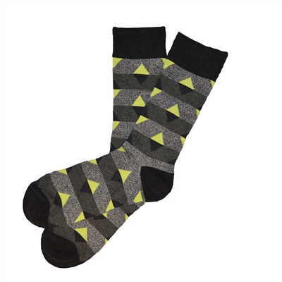 The School of Sock - The Ryan Charcoal, Gray and Yellow Triangle Sock