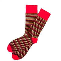 The School of Sock - The Scarlett Black, Red and Orange Striped Sock