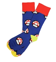 The School of Sock - The Shrooms Blue, Red and Yellow Mushroom Video Game Sock