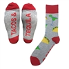 The School of Sock - The Tacos and Tequila gray, red, yellow and green Cinco De Mayo Sock