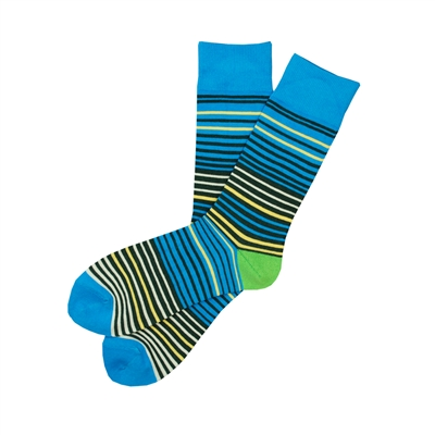 The School of Sock - The Theodore Blue, Black, Lime Green, Yellow  and Cream Striped Sock