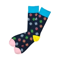 Sock 101 - The Ty Navy, Yellow, Pink, Blue and Red Polka Dot Sock