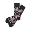 The School of Sock - The Wallace Charcoal and Pink Aztec Sock