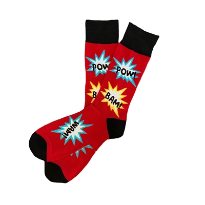 The School of Sock - The West Red, Yellow, Blue and Black Comic Book Sock