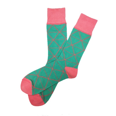 The School of Sock - The Will Teal and Salmon Triangle Sock