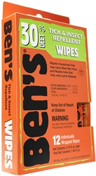 Ben's 30% Deet wipes 12 pack