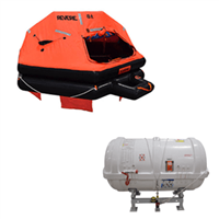 Revere 25 Person B-Pack , USCG/SOLAS Approved Round Container Liferaft with Cradle