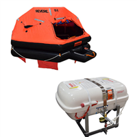 Revere 6 Person Low Profile B-Pack, USCG/SOLAS Approved Low Profile Liferaft with Cradle
