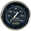 "Faria Chesapeake Black Stainless Steel 4"" Tachometer with Hour meter, 6,000 RPM (Gas, Inboard) 33732"