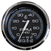 "Faria Chesapeake Black Stainless Steel 4"" Tachometer with Systemcheck Indicator, 7,000 RPM (Gas, Johnson/Evinrude Outboard) 33750"