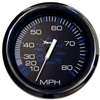 "Faria Chesapeake Black Stainless Steel 4"" Speedometer, 80MPH (Mechanical) 33705"