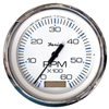 "Faria Chesapeake White Stainless Steel 4"" Tachometer with Hour meter, 6,000 RPM (Gas, Inboard) 33832"