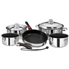 Magma Nesting 10-Piece Induction Compatible Cookware - Stainless Steel Exterior & Slate Black Ceramica Non-Stick Interior