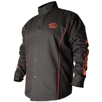 BX9C BSX® Contoured FR Cotton Welding Jacket, Black with Red Flames