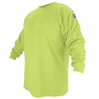 FTL6-LIM Flame-Resistant Cotton Long-Sleeve T-Shirt, Safety Lime