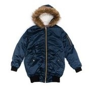 Womens Junior Zip Front Jacket with Faux Fur Trim Hood