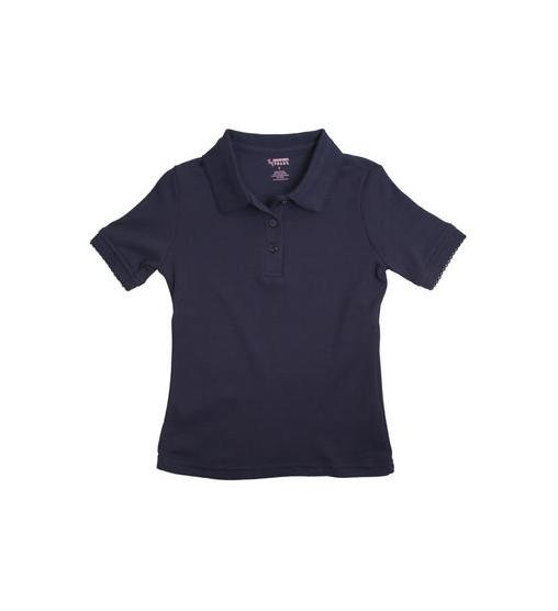 475f88a5 French Toast Flower Button Girls Knit Polo with Picot Collar   Zemskys
