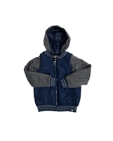 Marled Fleece Sleeve Hooded Nylon Jacket