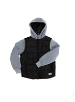 Fleece Sleeve Hooded Nylon Jacket