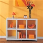 Storage cube bookcase with 6 cubbies