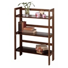3-Tier Folding and Stackable bookcase in antique walnut