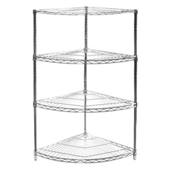 "18""d Chrome Wire Shelving Radial Corner Unit with Three Shelves"